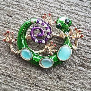 Gecco crystal and enamel brooch